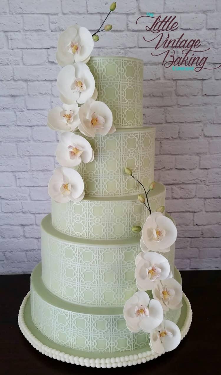 Sugar Orchid Wedding Cake