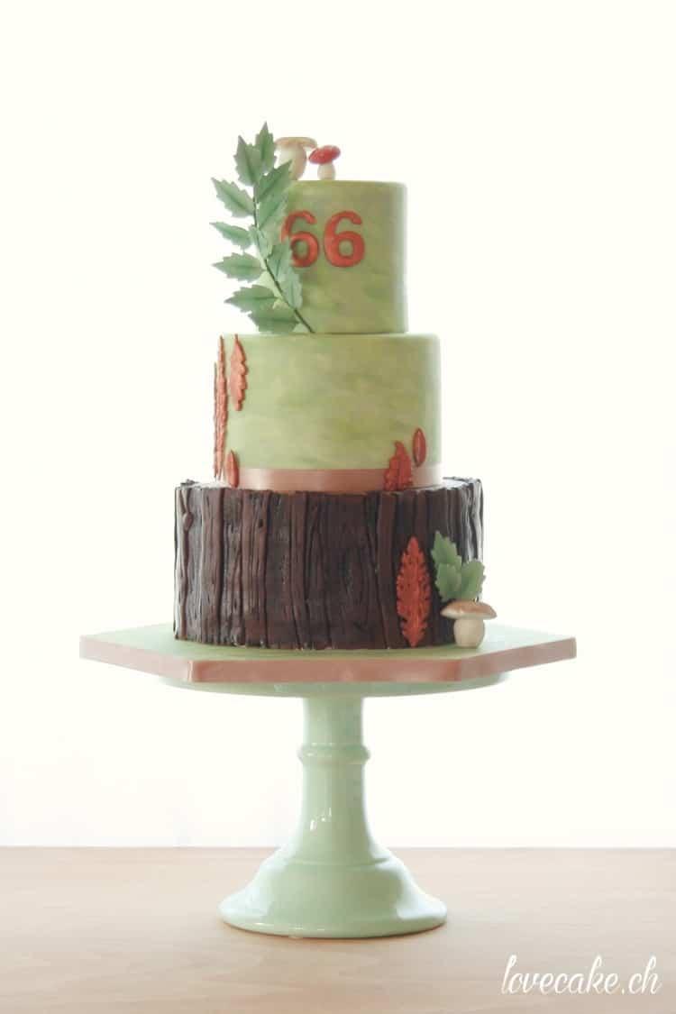 Tree Bark Green Bronze Birthday Cake