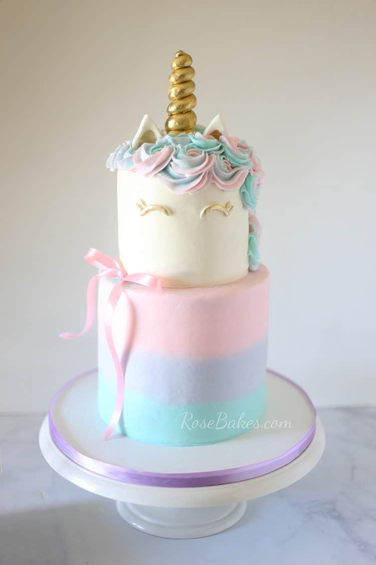 Pastel Watercolors Unicorn Cake on white cake stand