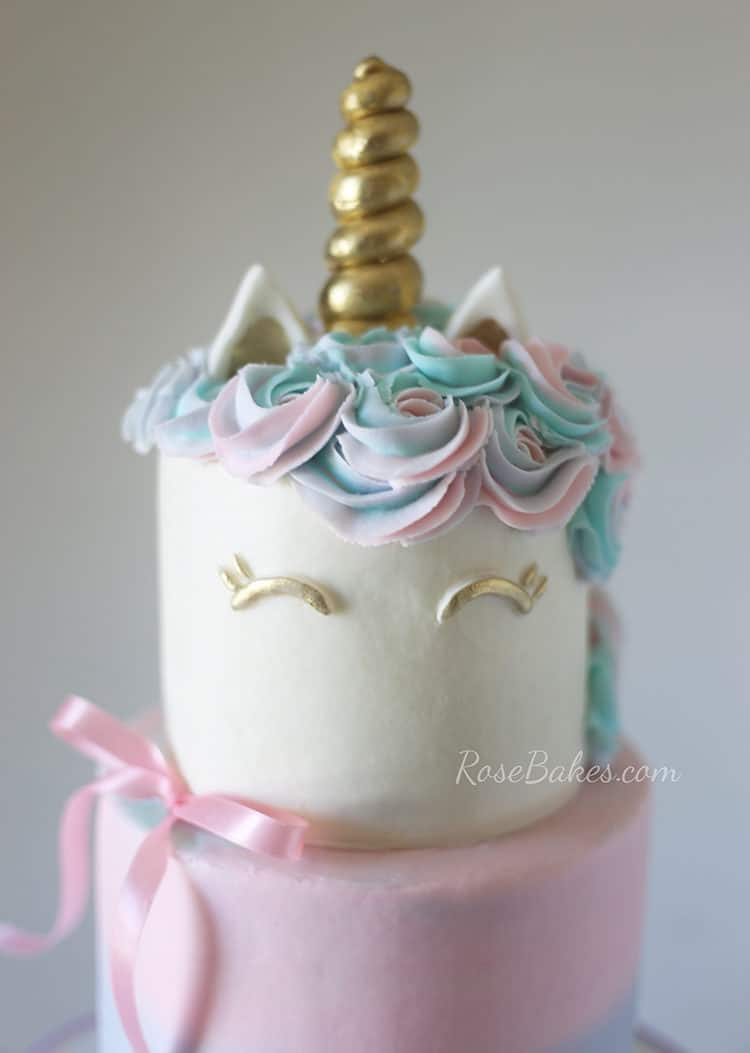 top tier of unicorn cake buttercream