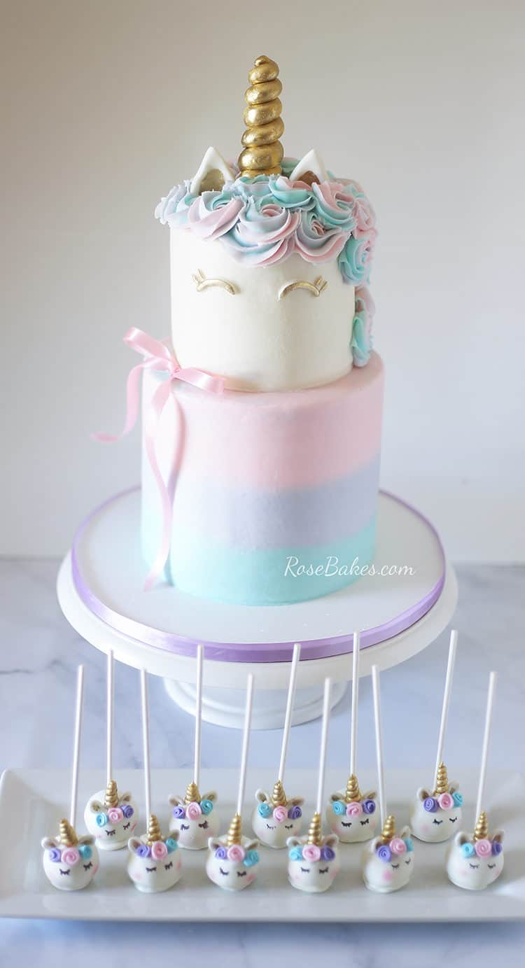 Pastel Watercolors Unicorn Cake and Unicorn Cake Pops