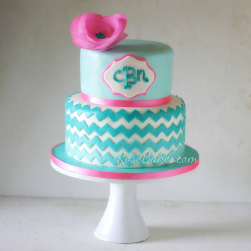Ombre Chevron Cake for How to Stick Fondant Decorations to Cake tutorial