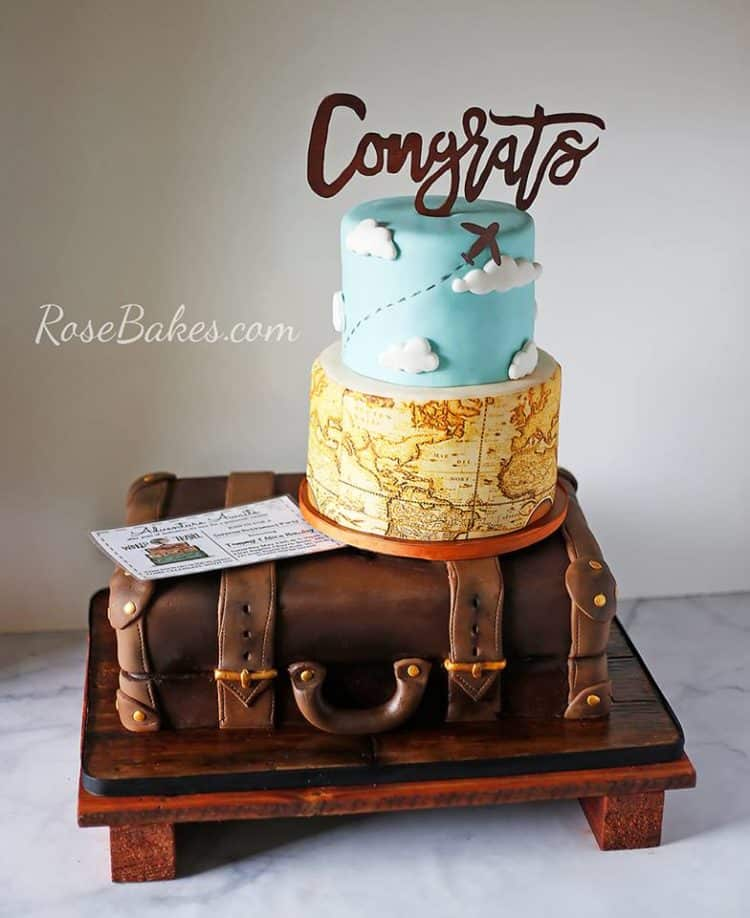 A Surprise Retirement Party For My Parents A Travel Suitcase Themed Retirement Cake Rose Bakes