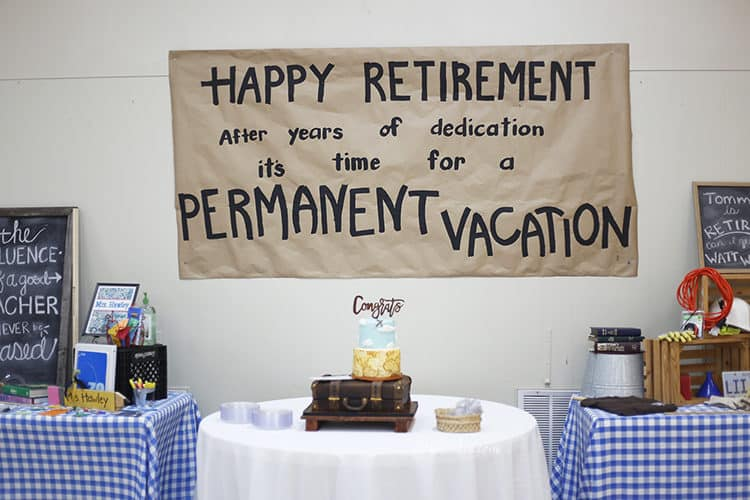 Retirement Party Cake with Vacation / Travel Theme