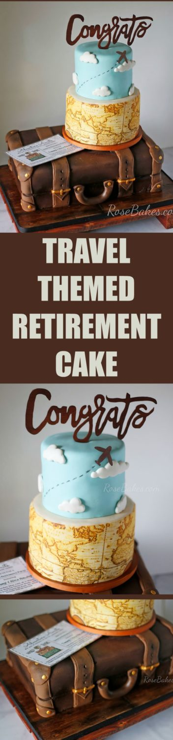 "A Surprise Retirement Party with a Travel / Suitcase Themed Retirement Cake. Our theme was ""Permanent Vacation""! Click on over to Rose Bakes for all the cake and party details /pics!"