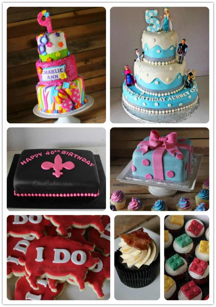 Different pictures of decorated cakes