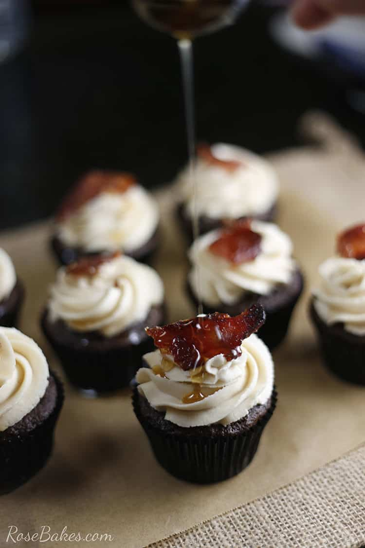 chocolate cupcake with maple buttercream icing with maple drizzle