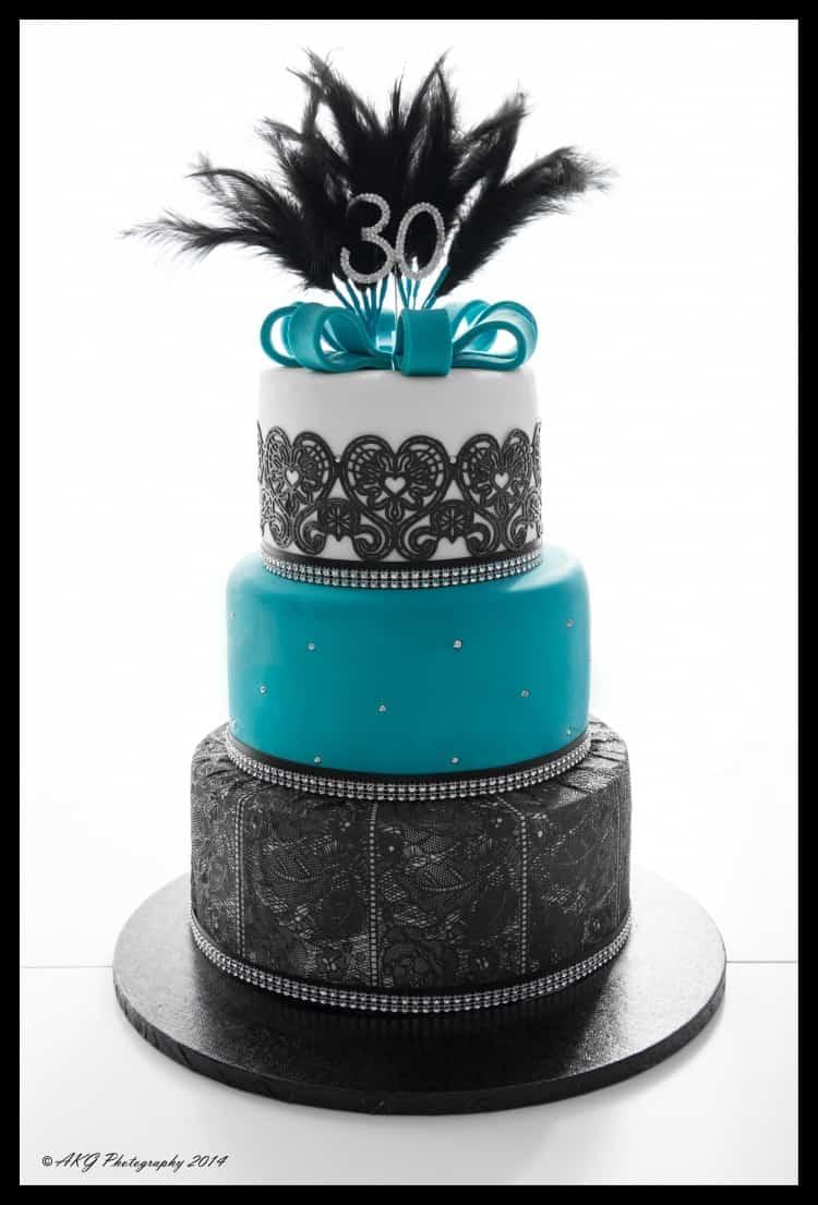 Black & Teal 30th Birthday Cake