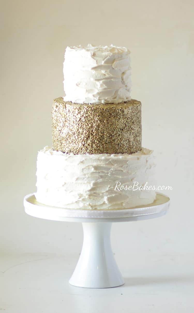 50th Wedding Anniversary Cake With Edible Gold Sequins Rose Bakes