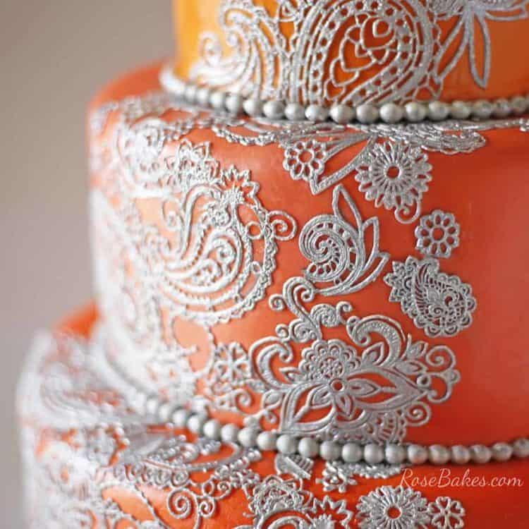 Orange Silver Mehndi Henna Cake Rose Bakes