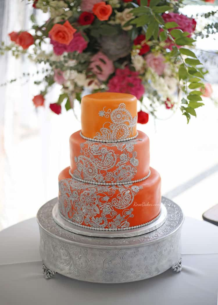 Orange Silver Mehndi Henna Cake Rose Bakes