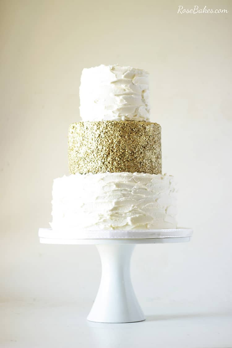 50th Wedding Anniversary Cake with Edible Gold Sequins - Rose Bakes