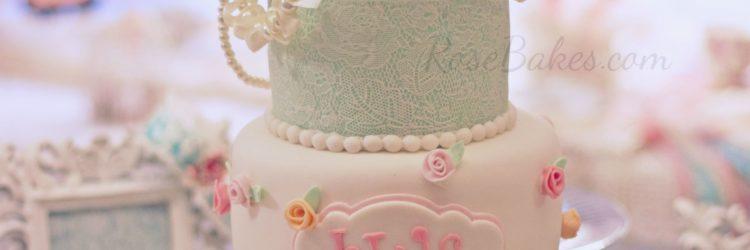 Shabby Chic Baby Shower Cake