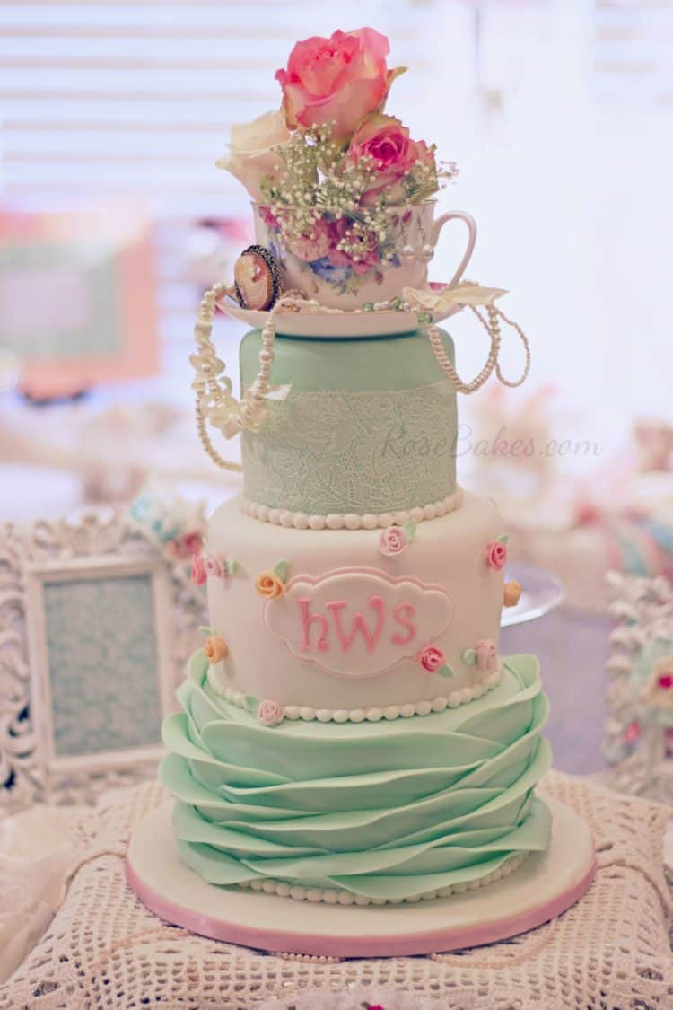 9eeaff8a0704f Shabby Chic Baby Shower Cake - Rose Bakes