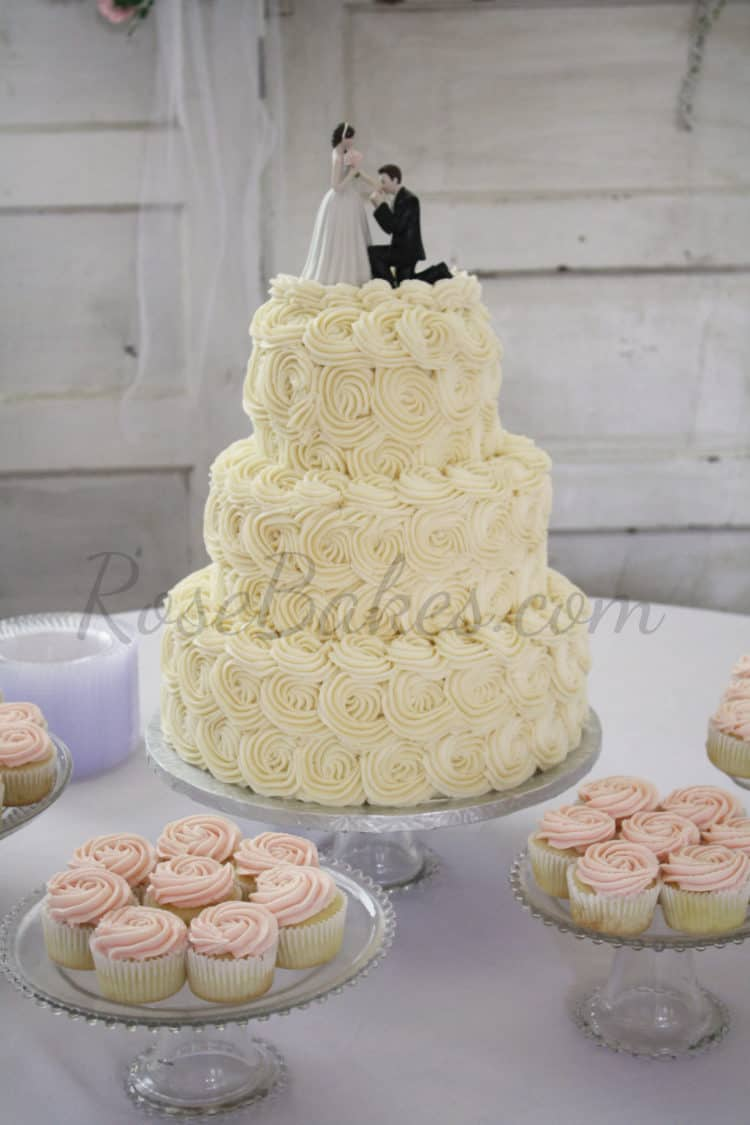 Pink Ombre Buttercream Roses Wedding Cake Rose Bakes
