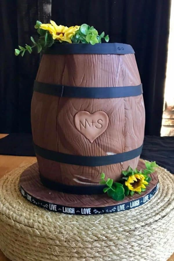 Whiskey Barrel Wedding Cake by WTTC Winner