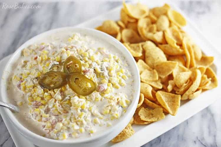 Bowl of Creamy and Spicy Corn Dip served with corn chips