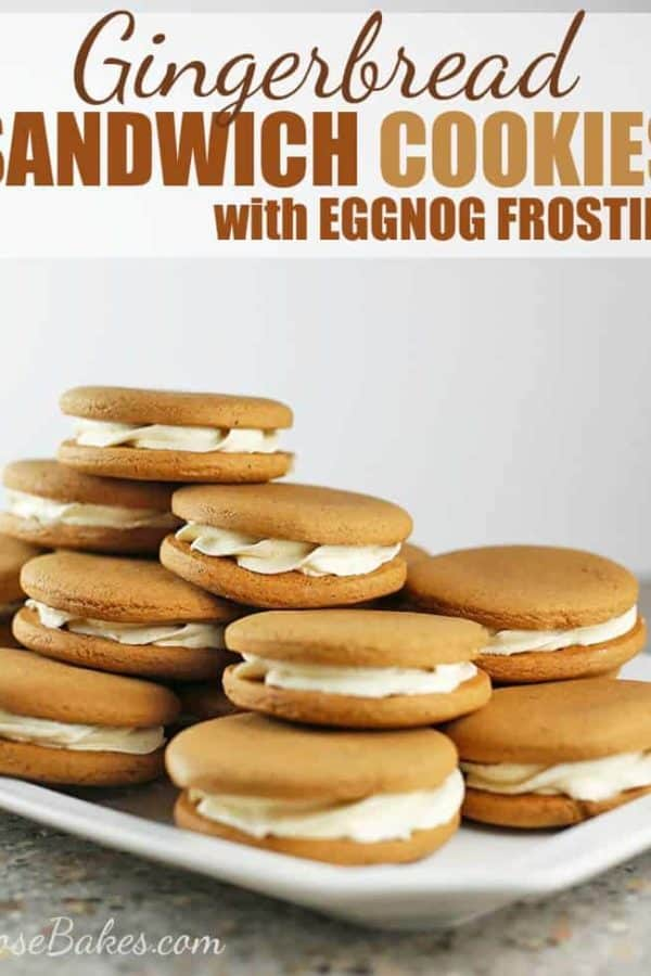 Gingerbread Sandwich Cookies with Eggnog Frosting with text