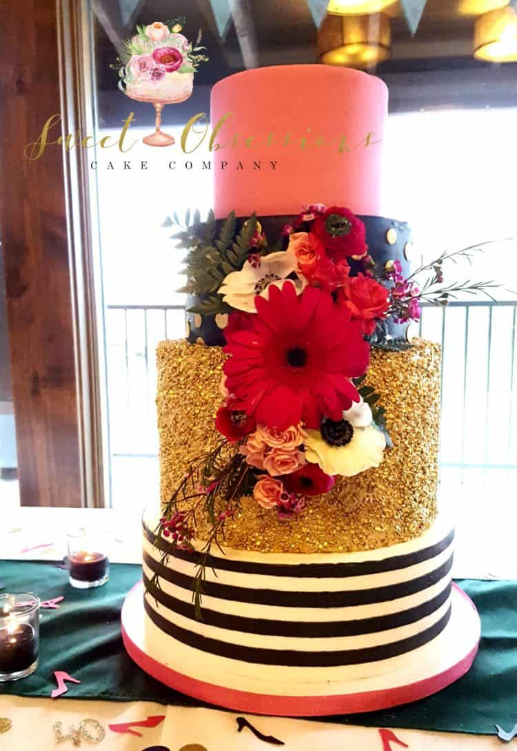 Gold sequin and stripes cake by WTTC runner up