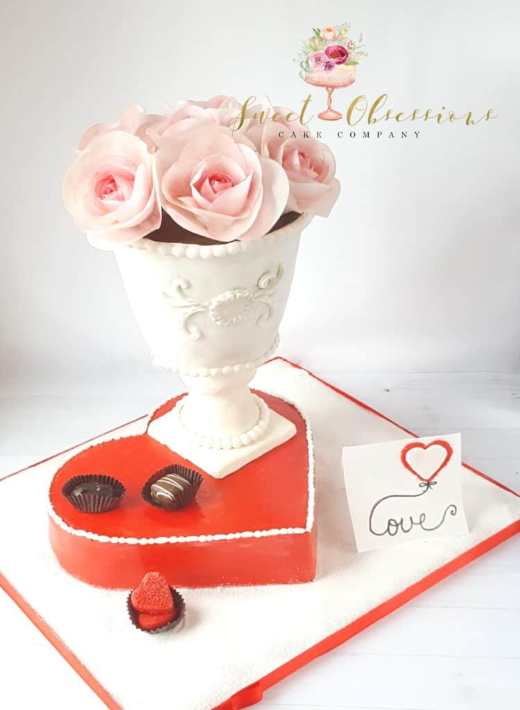 Vase of Roses and Box of Chocolates Cake by WTTC runner up