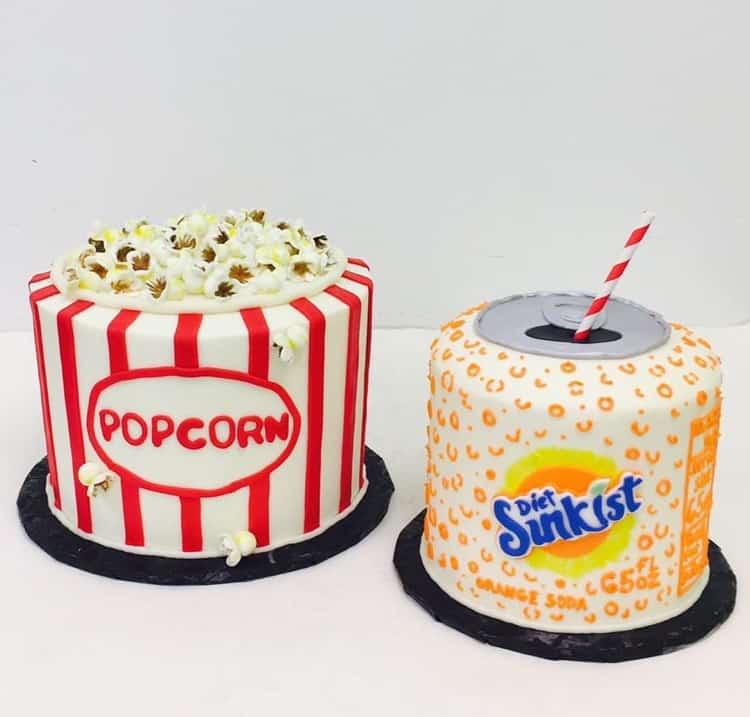 Popcorn and Sunkist Cakes by WTTC Winner HallieCakes