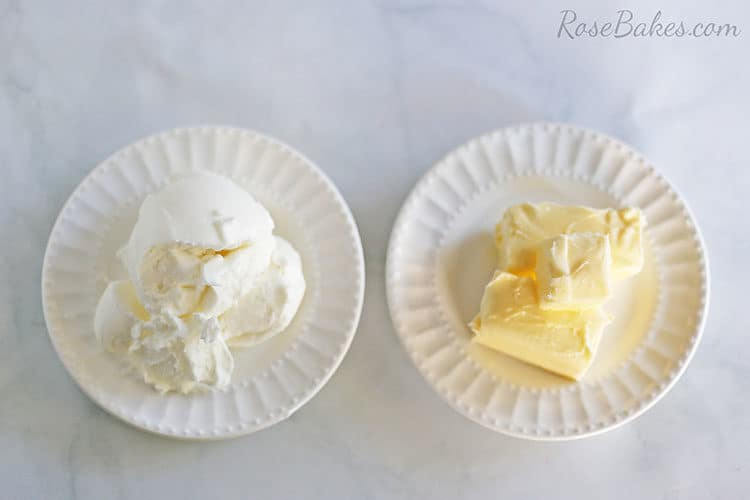 Plates of shortening and butter