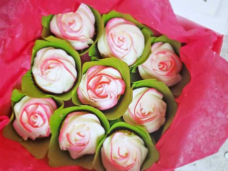 buttercream rose cupcakes swirled white and pink for cupcake bouquet for valentine's day
