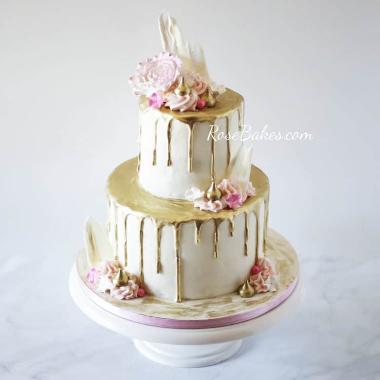 Modern Cake Design with Chocolate Brushstrokes - Rose Bakes