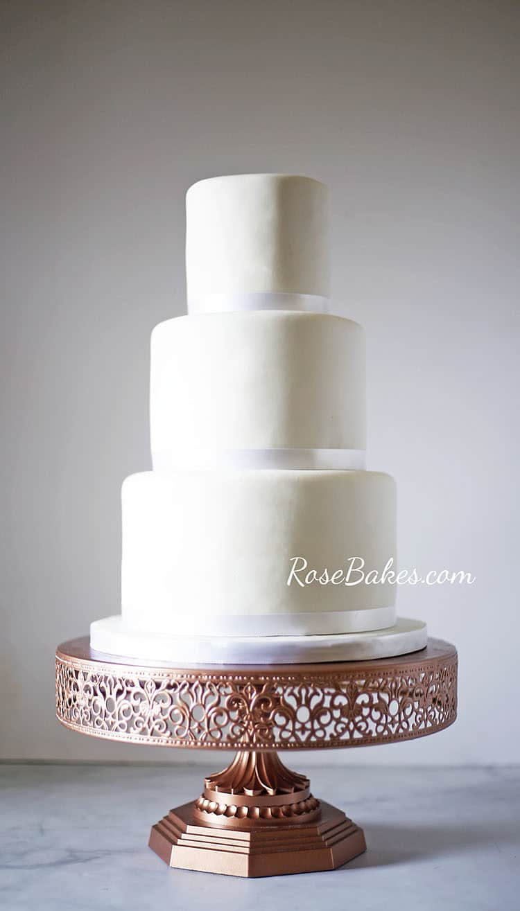 Simple White Wedding Cake on Different Cake Stands - Rose Bakes