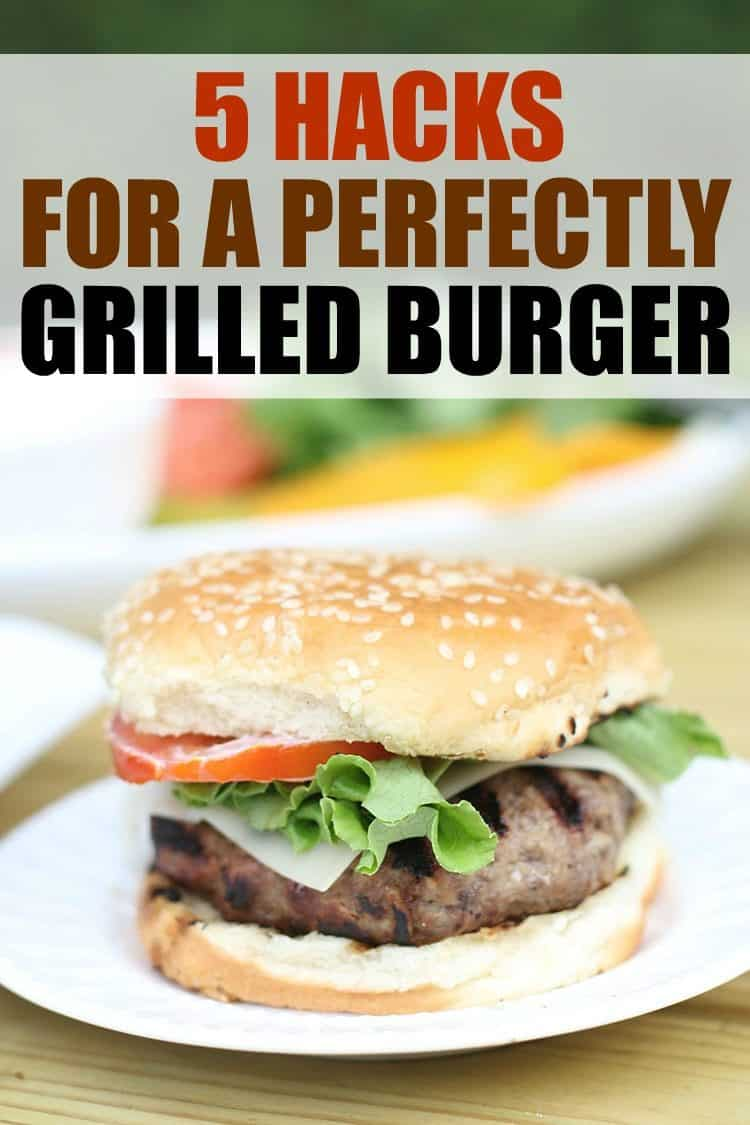 Grilled Hamburger on plate with text on photo