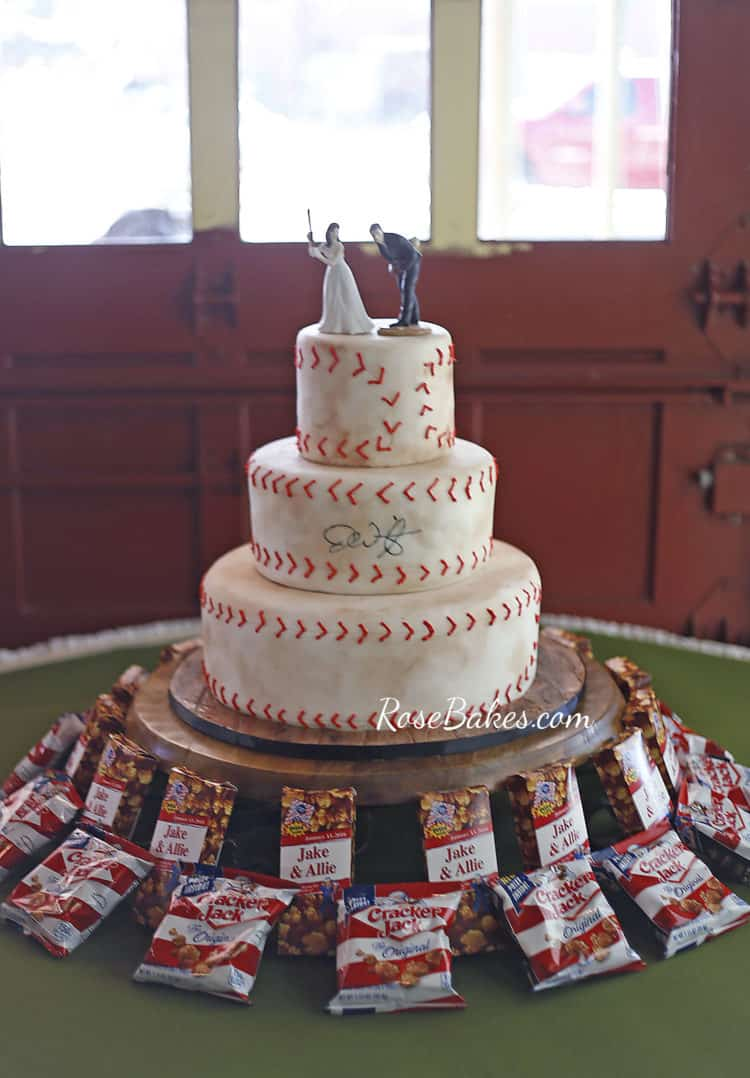 Baseball Groom's Cake on stand with Cracker Jack Boxes