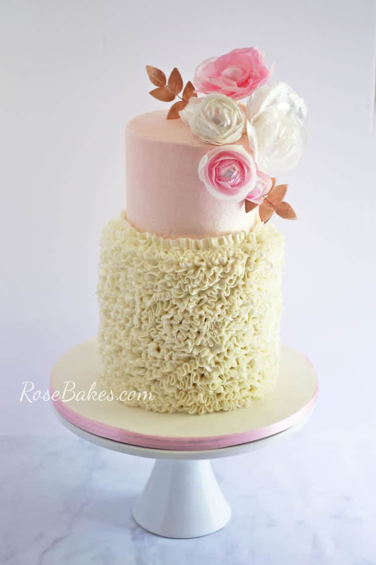 Buttercream Ruffles and Wafer Paper Flowers 1st Birthday Cake
