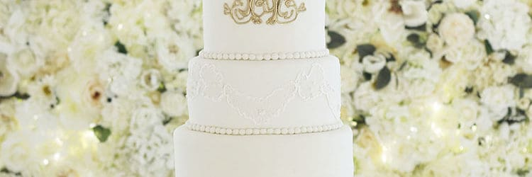 Elegant Tall Lace Wedding Cake With Gold Monogram Rose Bakes