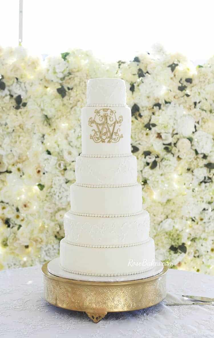 How to Stick Fondant Decorations to Cake - Lacy Wedding Cake with Gold monogram using sugar glue