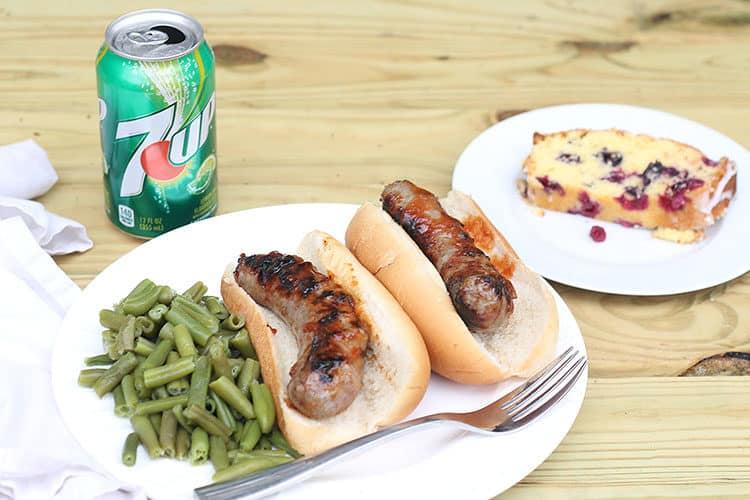 Grilled Brats on Buns with Green Beans, can of 7UP and lemon blueberry cake
