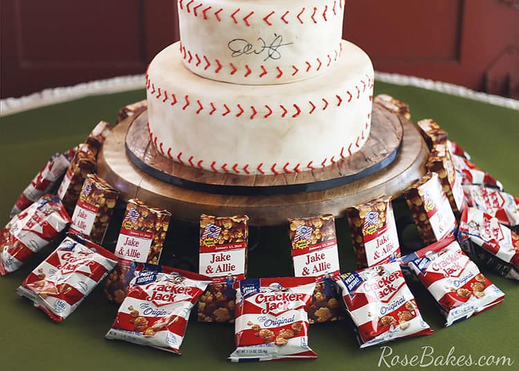 Cracker Jacks on table around Baseball Grooms Cake