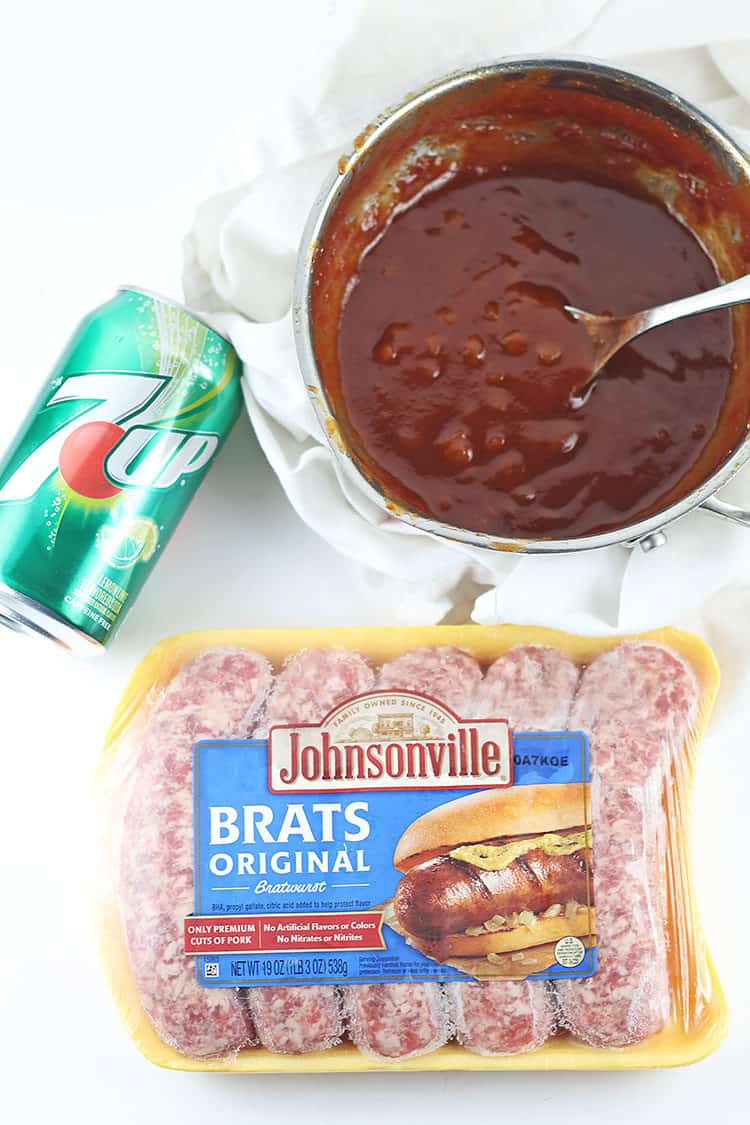 Johnsonville Brats Original with 7UP and homemade 7UP BBQ Sauce in pot