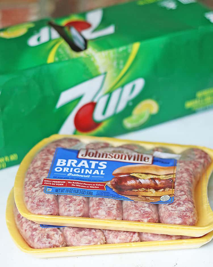Johnsonville Brats and 12 Pack of 7UP