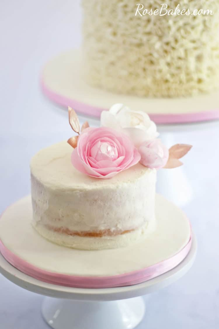 Naked Smash Cake with Pink and White Wafer Paper Flowers
