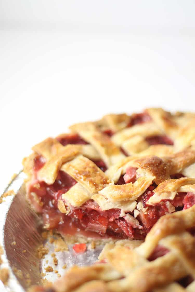 Strawberry Rhubarb Pie with Slice Missing