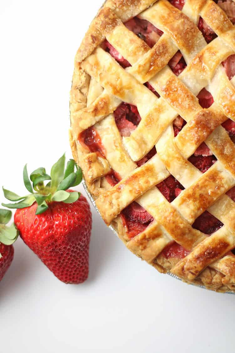 Strawberry Rhubarb Pie with Fresh Strawberries
