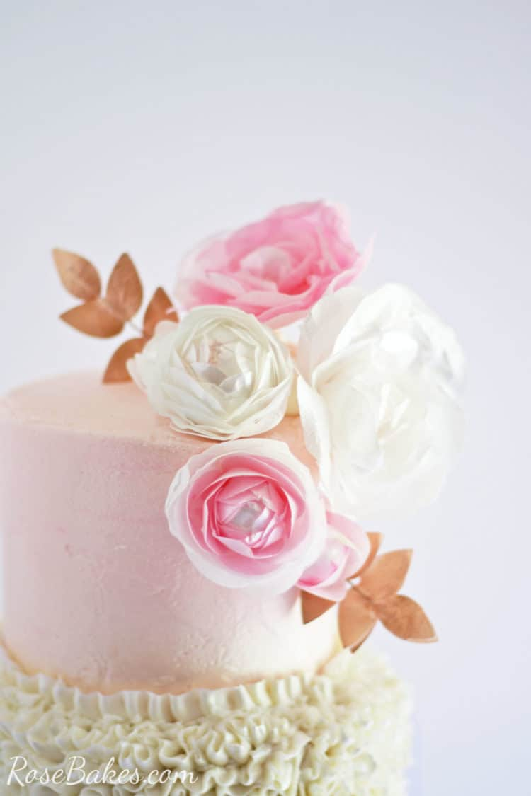 Wafer paper flowers Cake topper with pink and white and rose gold
