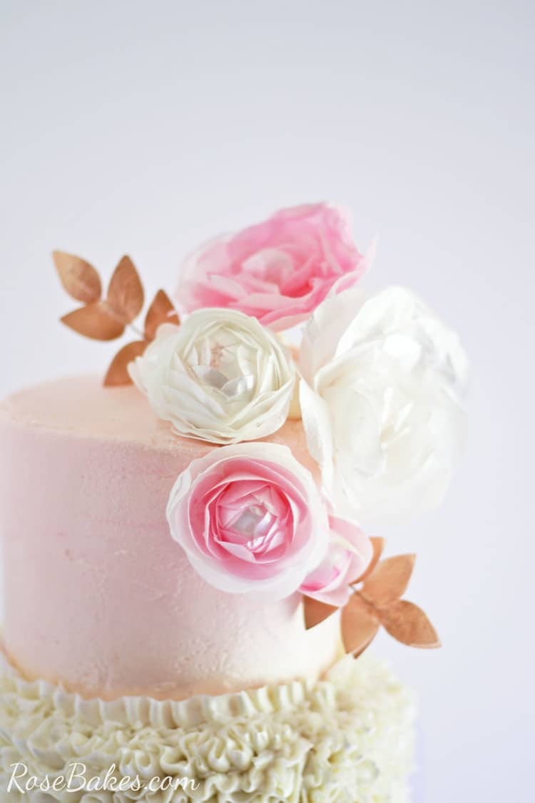 Buttercream Ruffles Wafer Paper Flowers Cake Rose Bakes