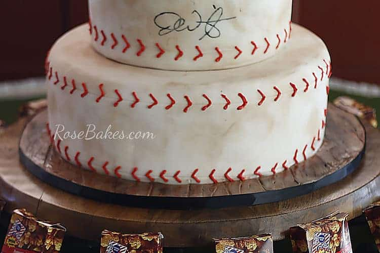 Wood grain texture on cake drum for baseball groom's cake