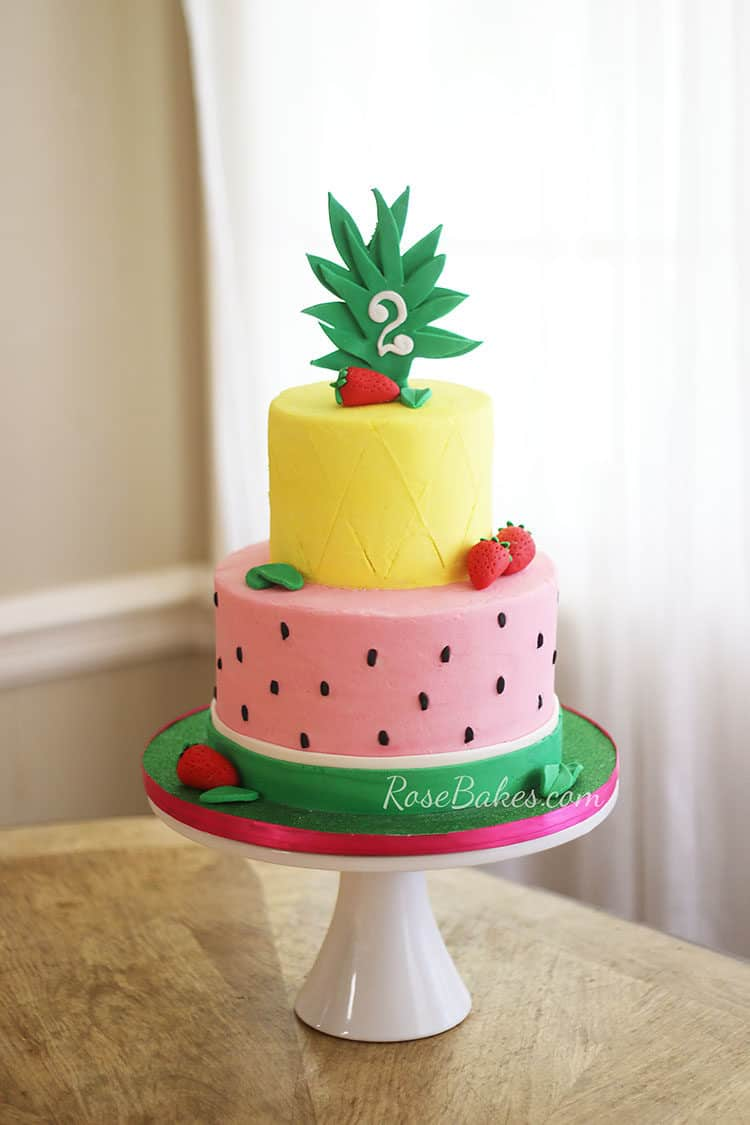 Tutti Frutti Buttercream Cake with Pineapple and Watermelon Tiers