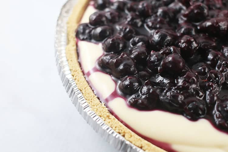 close up picture of lemon blueberry no bake cheesecake