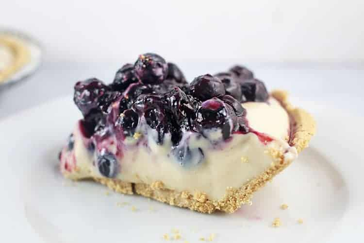 slice of lemon blueberry no bake cheesecake