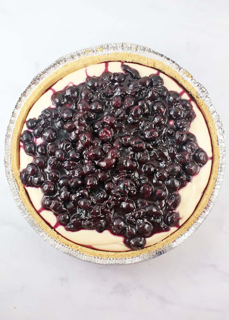 whole lemon blueberry no-bake cheesecake flatlay shot