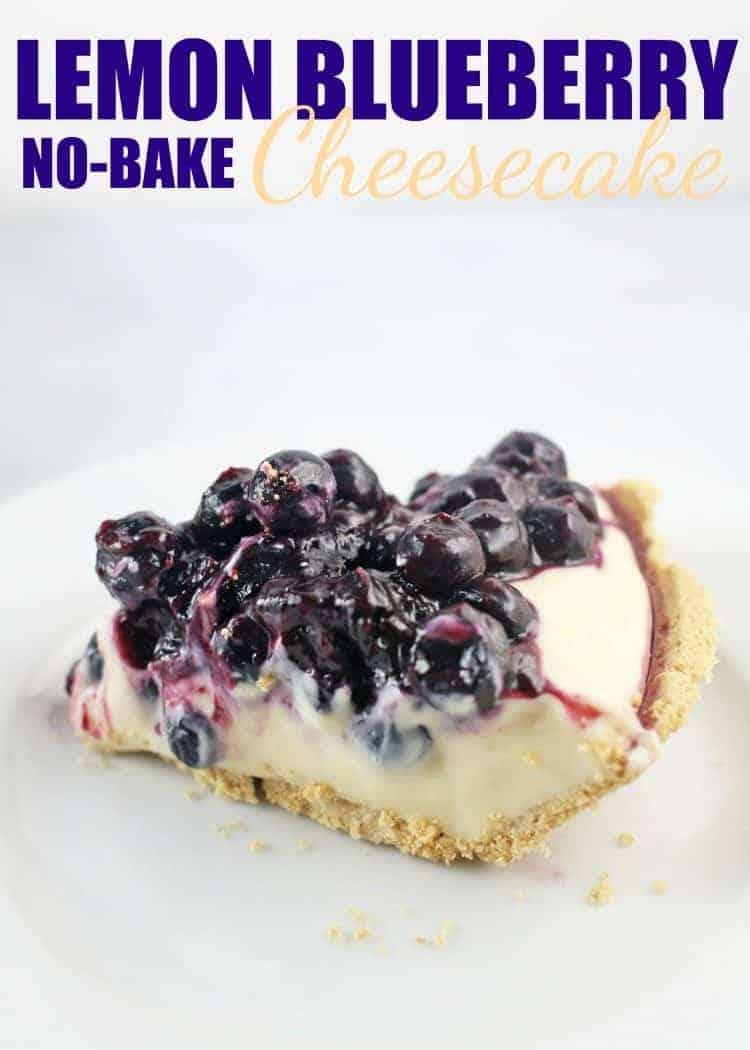 Slice of Lemon Blueberry No-Bake Cheesecake