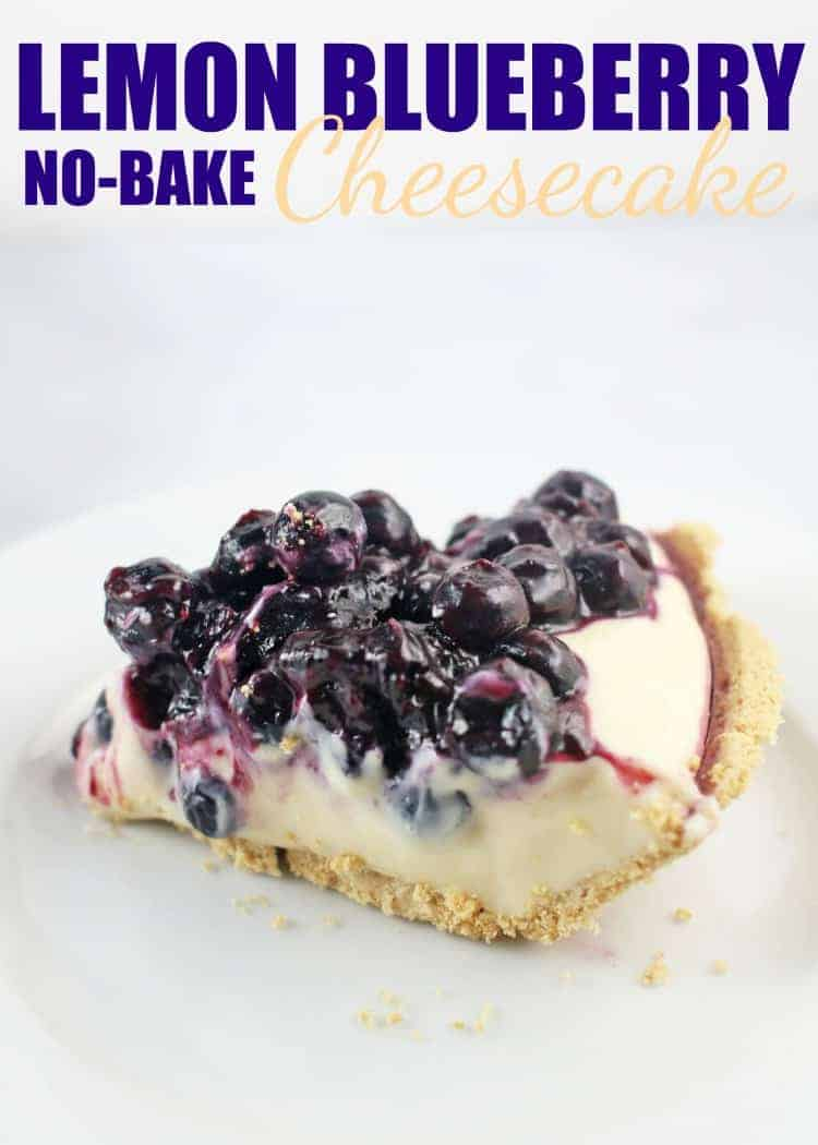 slice of lemon blueberry no-bake cheesecake on a white plate